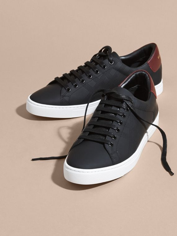 Black/deep claret melange Perforated Check Leather Trainers Black/deep Claret Melange - cell image 2