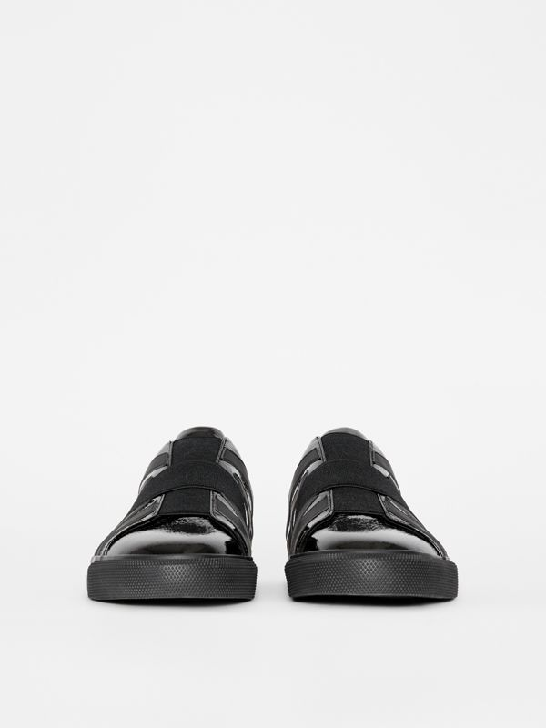 Union Jack Motif Slip-on Sneakers in Black - Men | Burberry United Kingdom - cell image 2