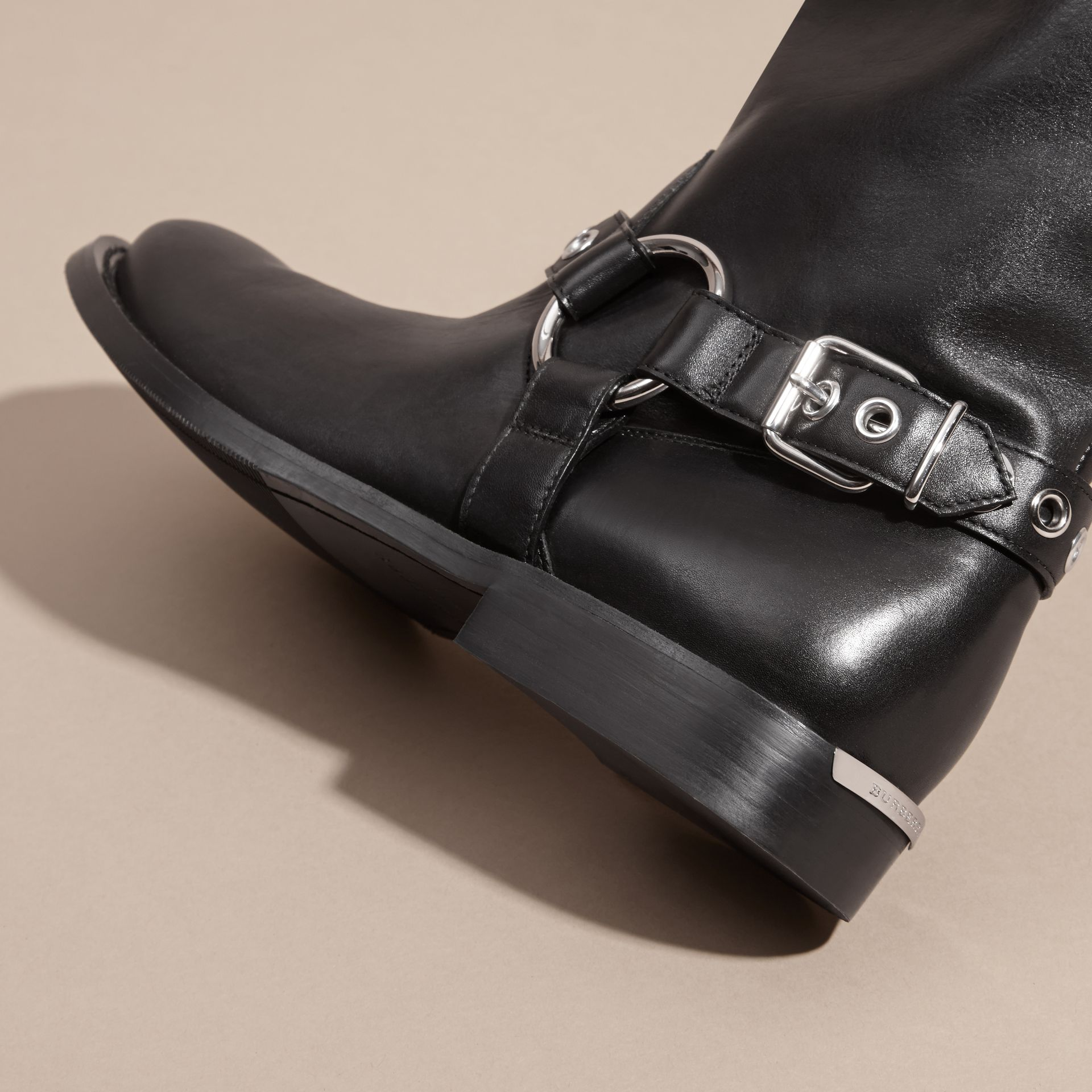 Black Buckle Detail Leather Biker Boots - gallery image 2