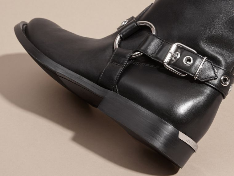 Black Buckle Detail Leather Biker Boots - cell image 1