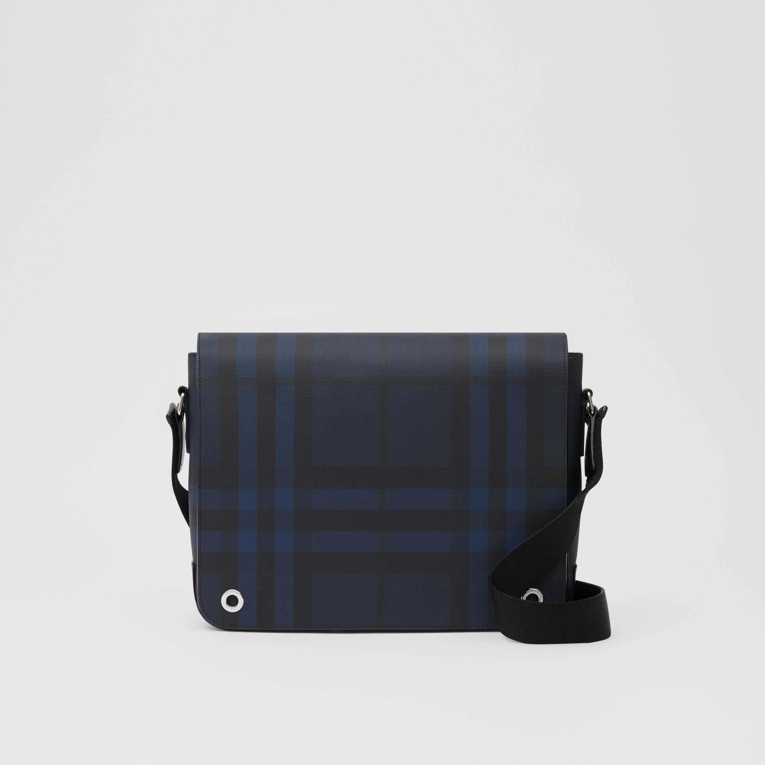 London Check and Leather Satchel in Navy - Men | Burberry - 1