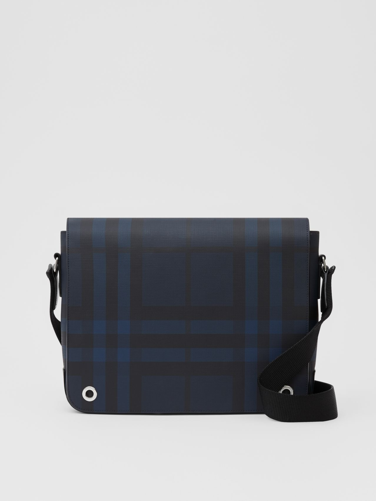 London Check and Leather Satchel in Navy