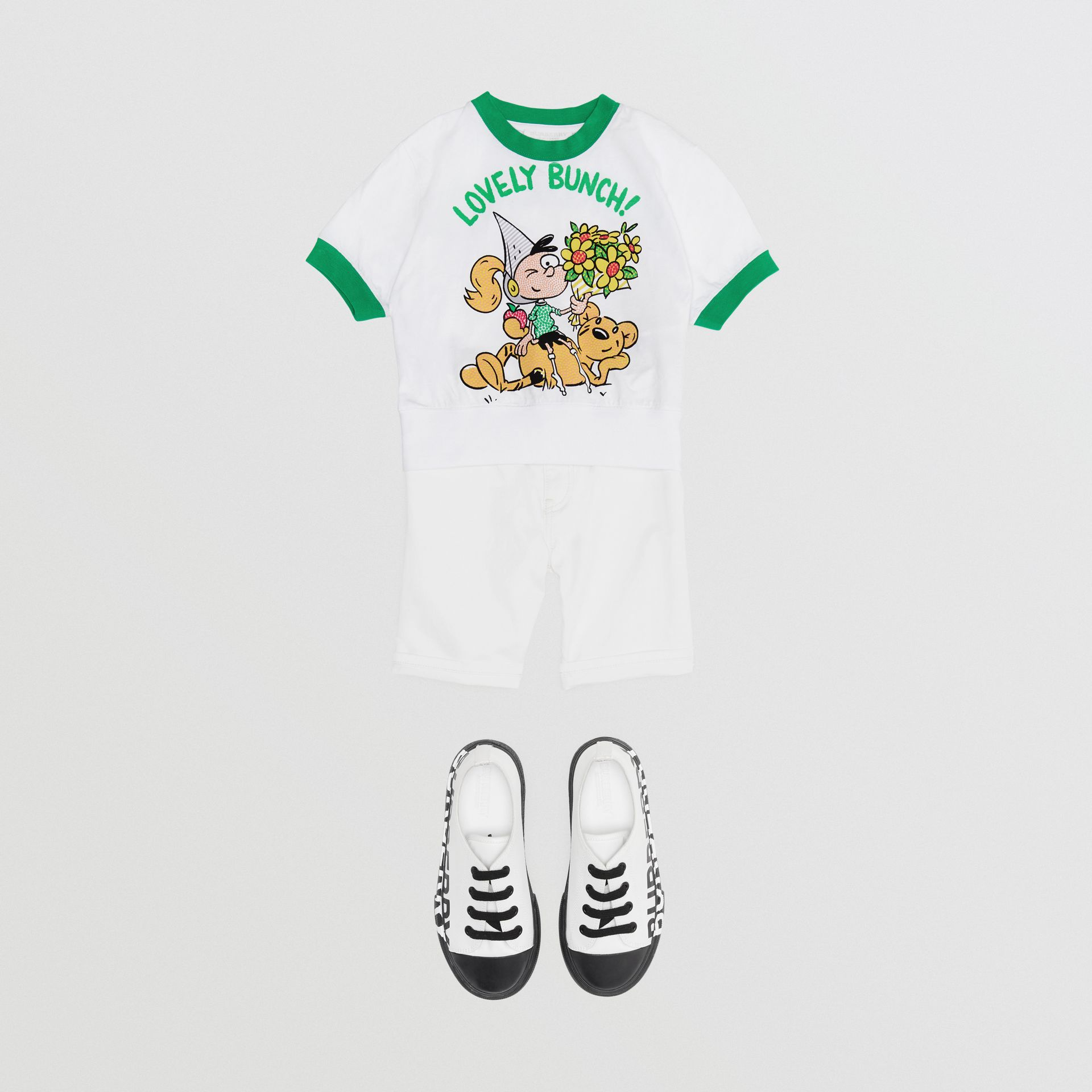Cartoon Print Cotton T-shirt in White | Burberry - gallery image 2