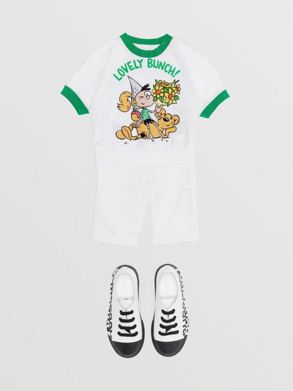 Cartoon Print Cotton T-shirt in White - Girl | Burberry - cell image 2