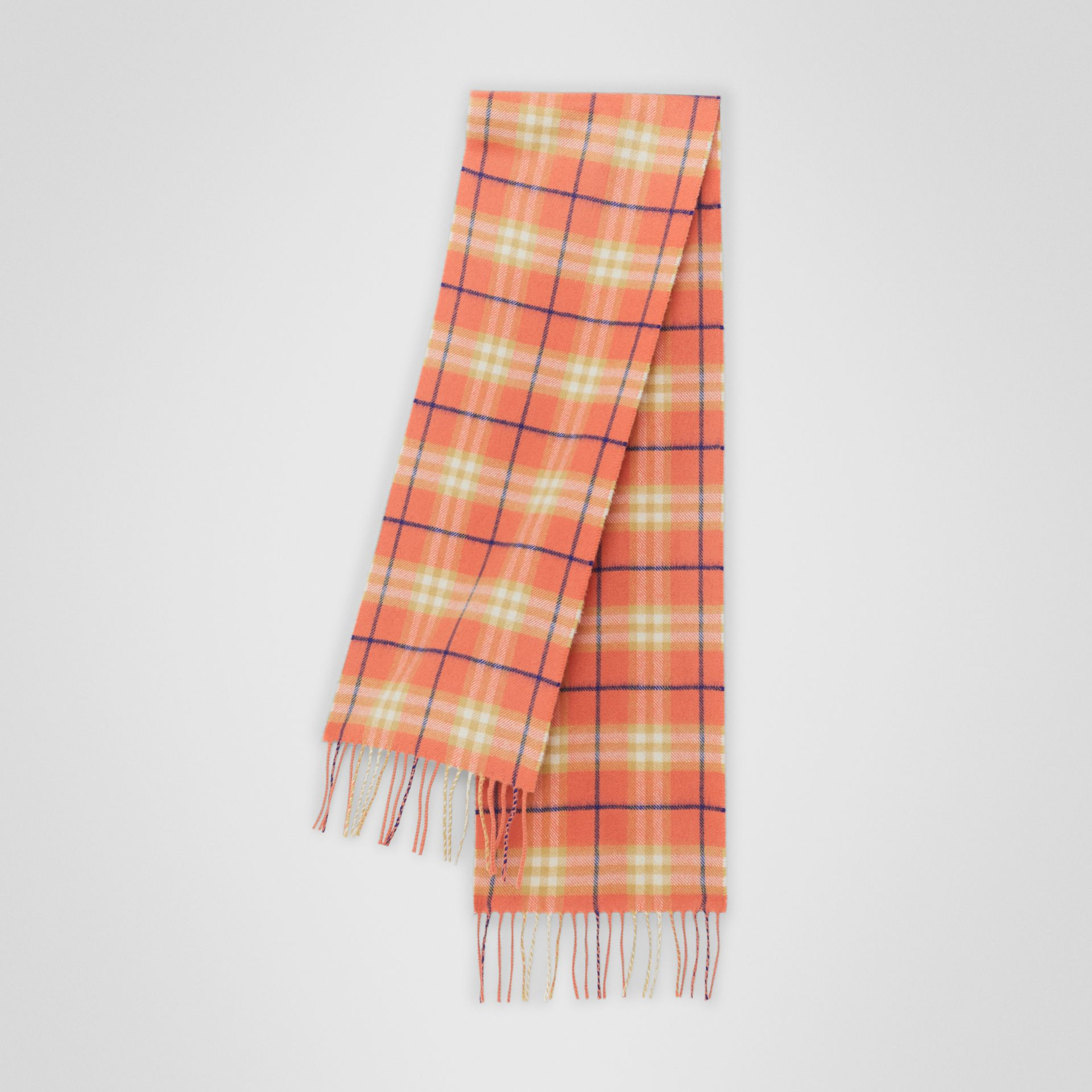 The Mini Classic Vintage Check Cashmere Scarf in Coral - Children | Burberry United Kingdom - gallery image 0