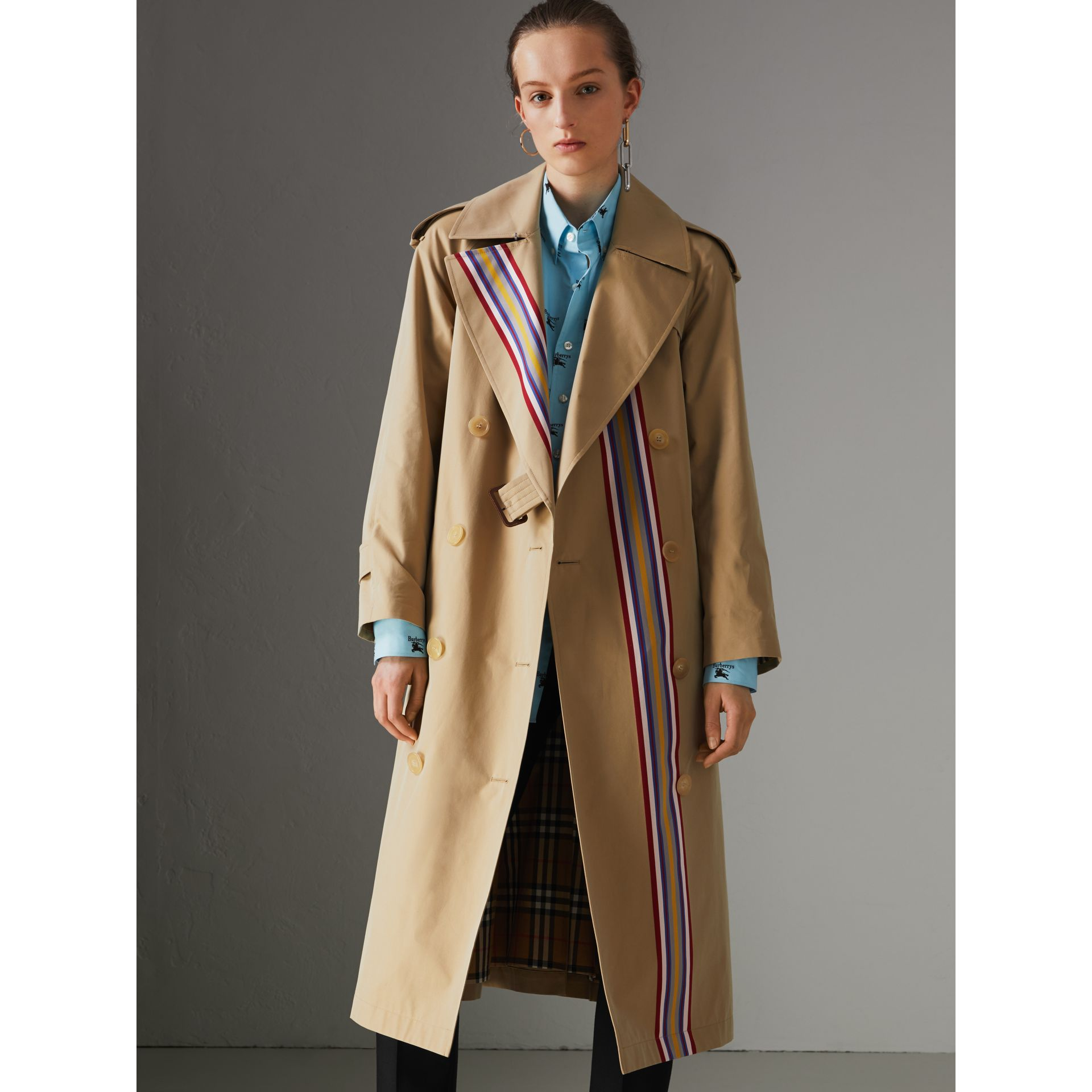 Collegiate Stripe Cotton Gabardine Trench Coat in Honey - Women | Burberry United States - gallery image 6