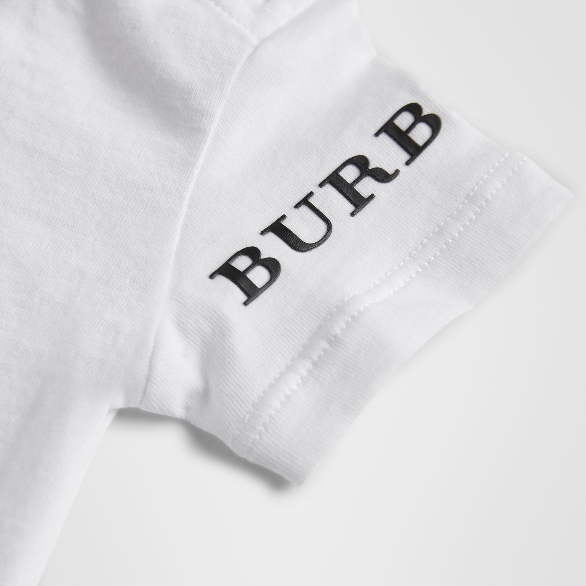 Logo Print Cotton T-shirt in White - Children | Burberry Hong Kong - gallery image 1