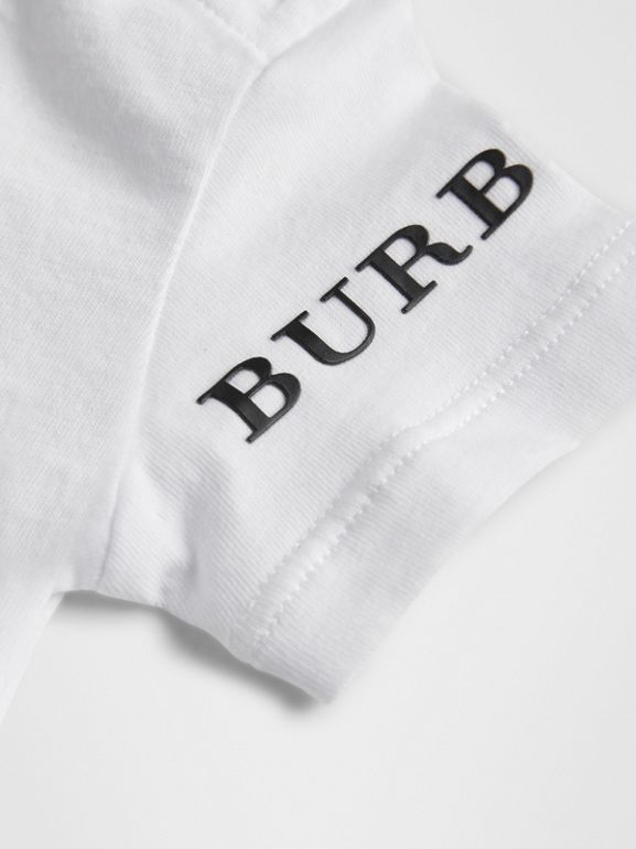 Logo Print Cotton T-shirt in White - Children | Burberry Hong Kong - cell image 1
