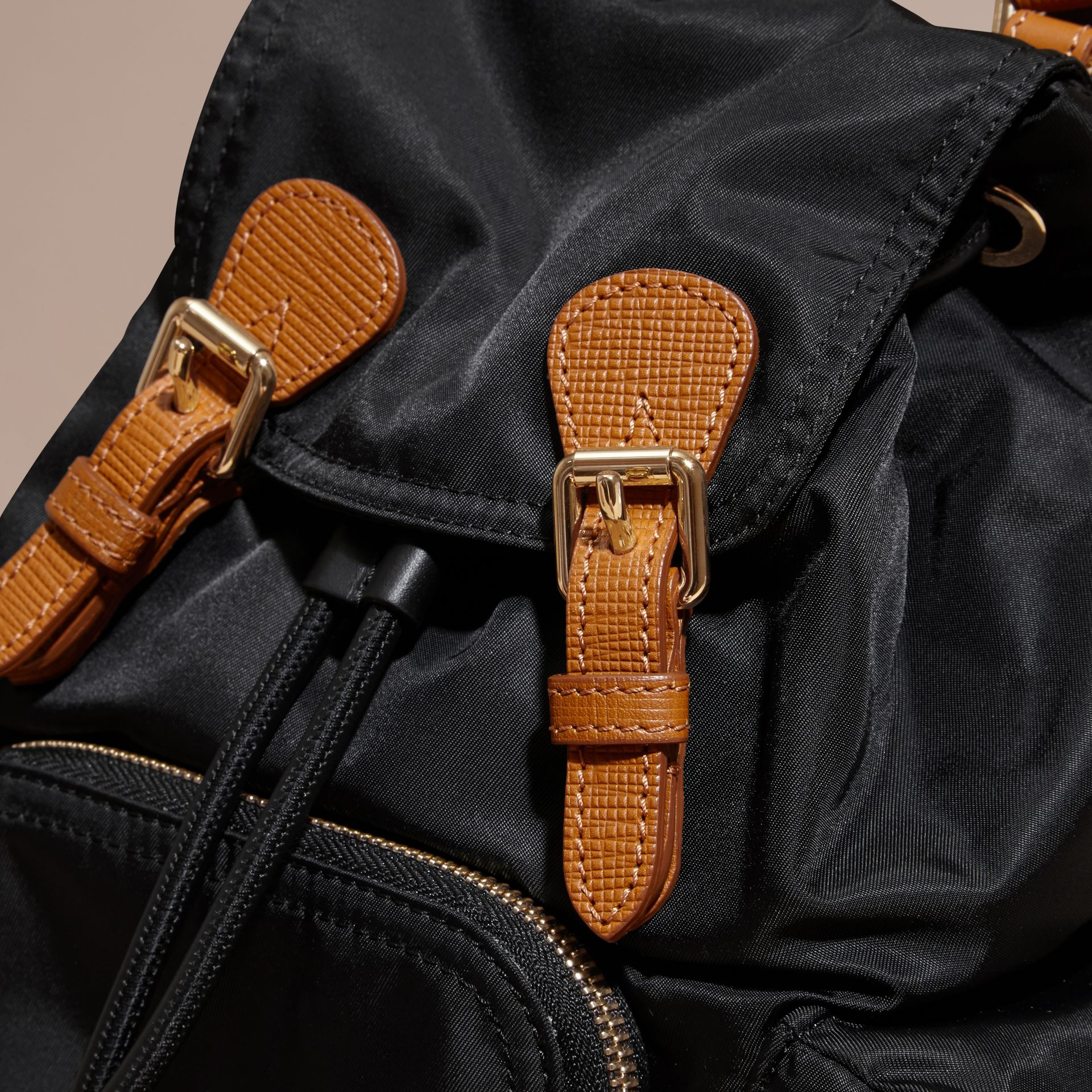 The Small Rucksack in Technical Nylon and Leather Black - gallery image 2