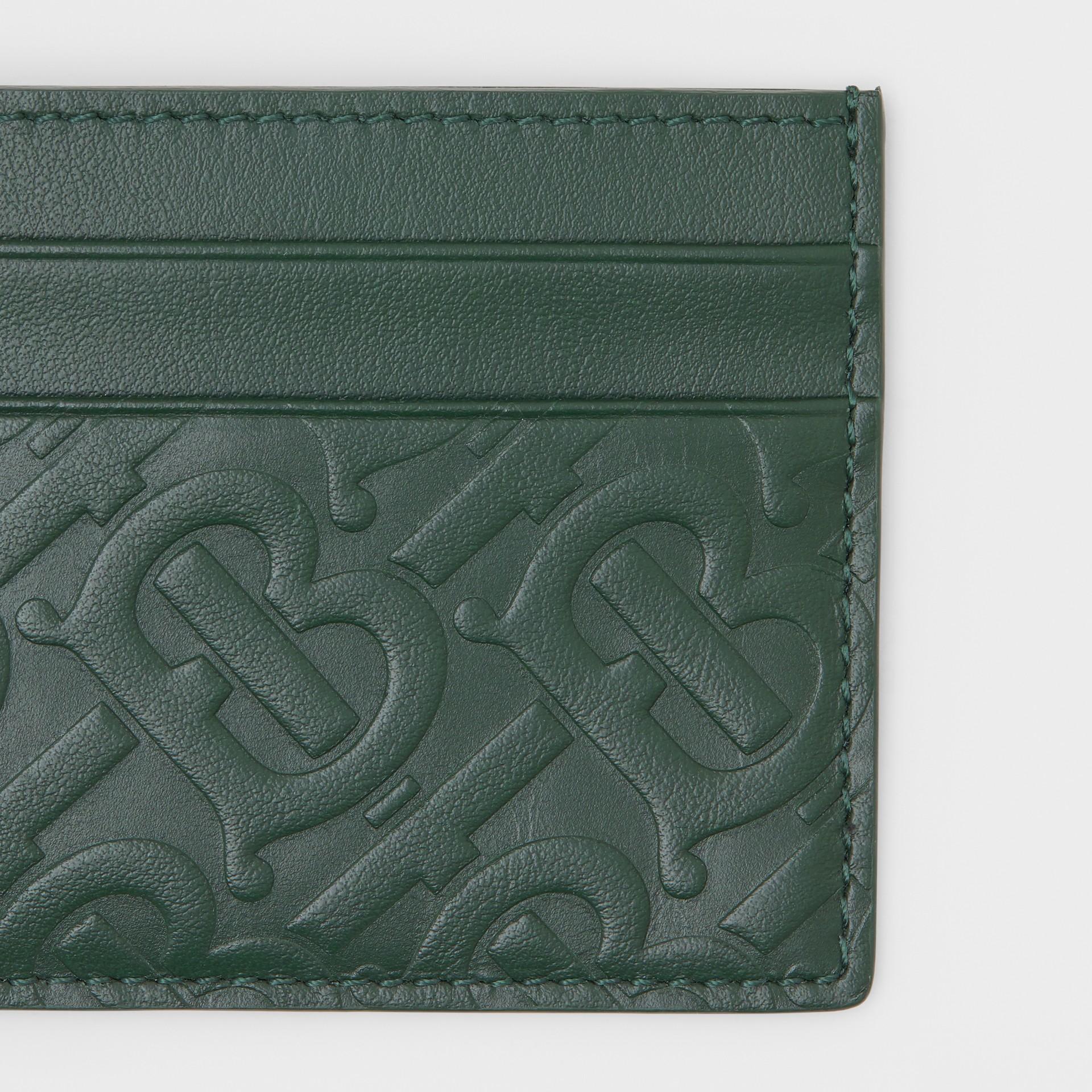 Monogram Leather Card Case in Dark Pine Green - Men   Burberry United Kingdom - gallery image 1