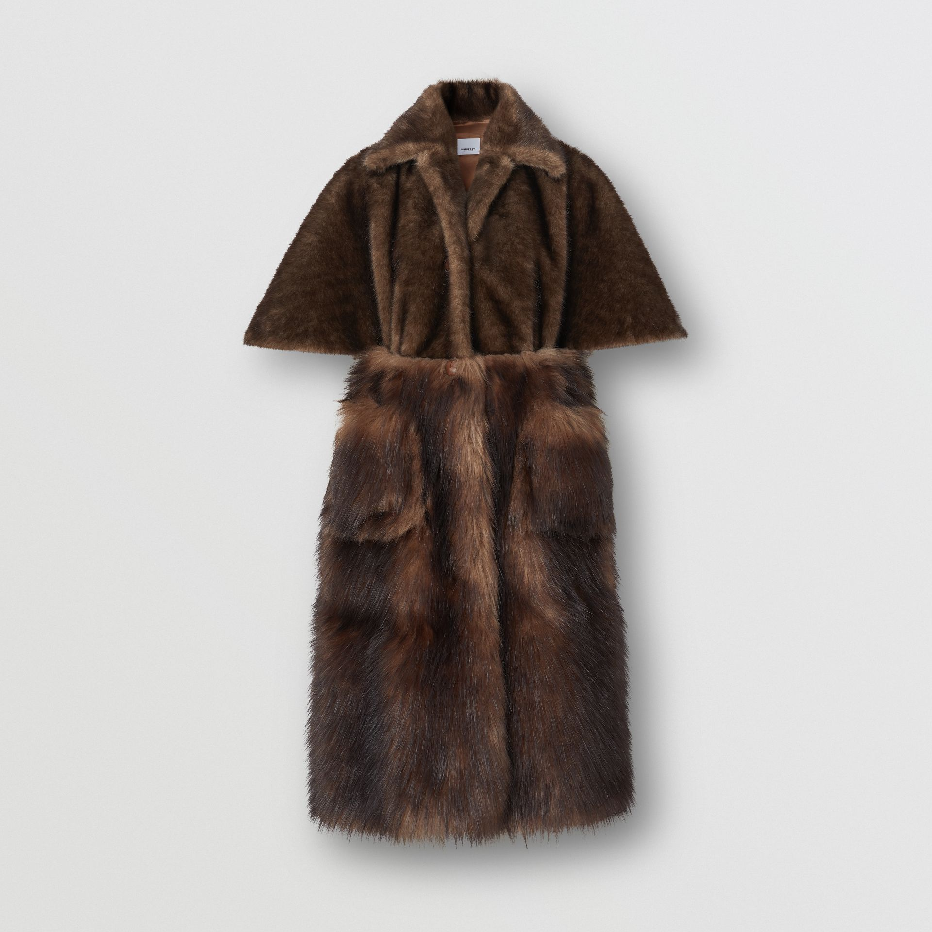 Faux Fur Cape Coat in Brown - Women | Burberry - gallery image 3