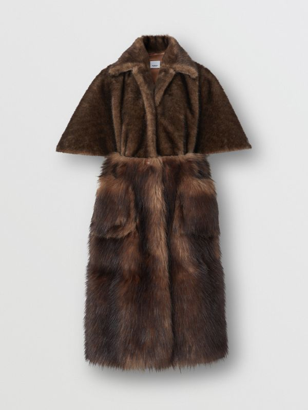Faux Fur Cape Coat in Brown - Women | Burberry - cell image 3