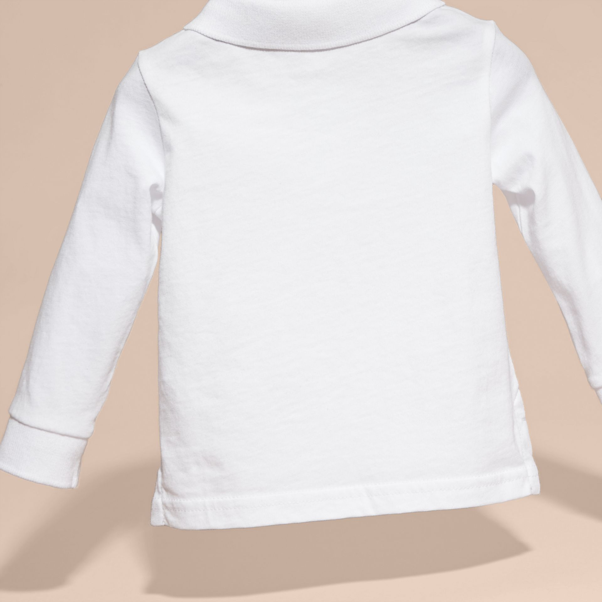Check Trim Long-sleeved Cotton Polo Shirt White - gallery image 4