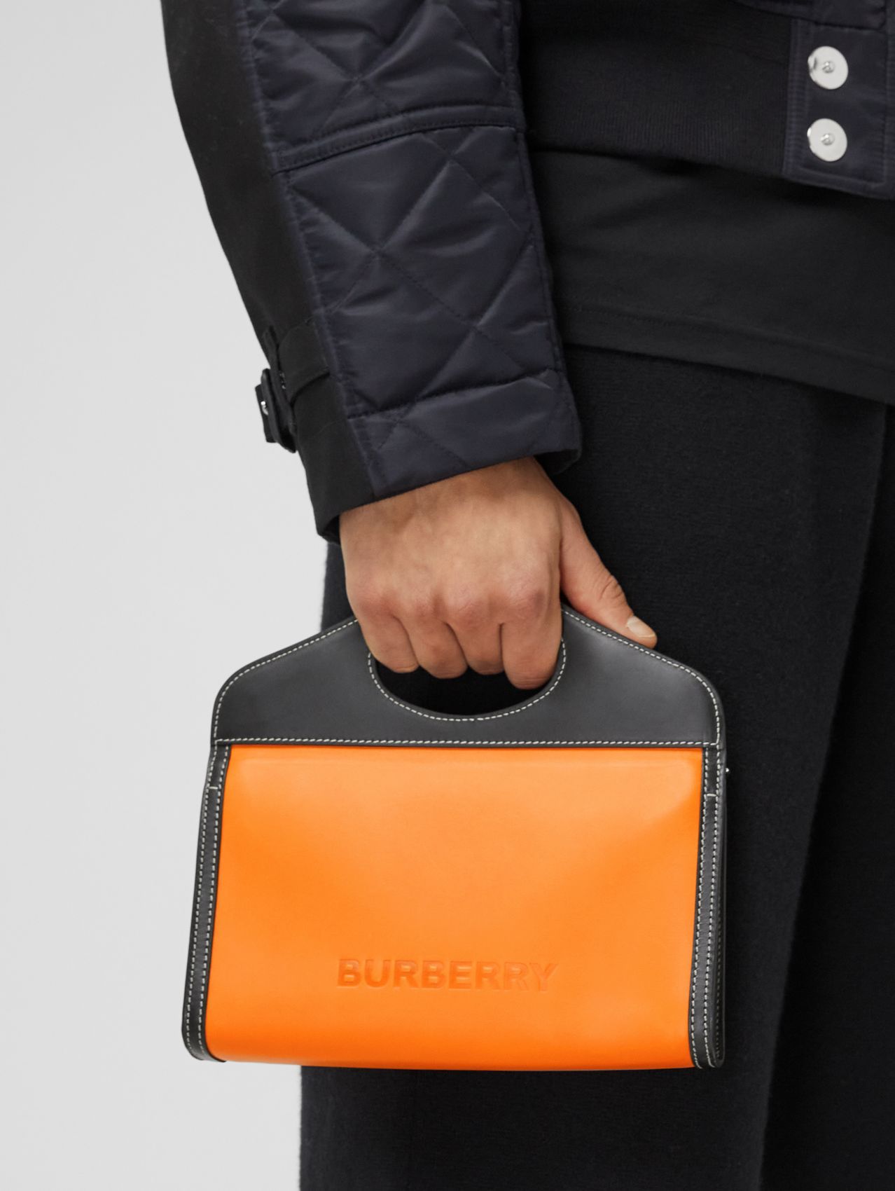 Two-tone Leather Foldover Pocket Bag in Deep Orange/black
