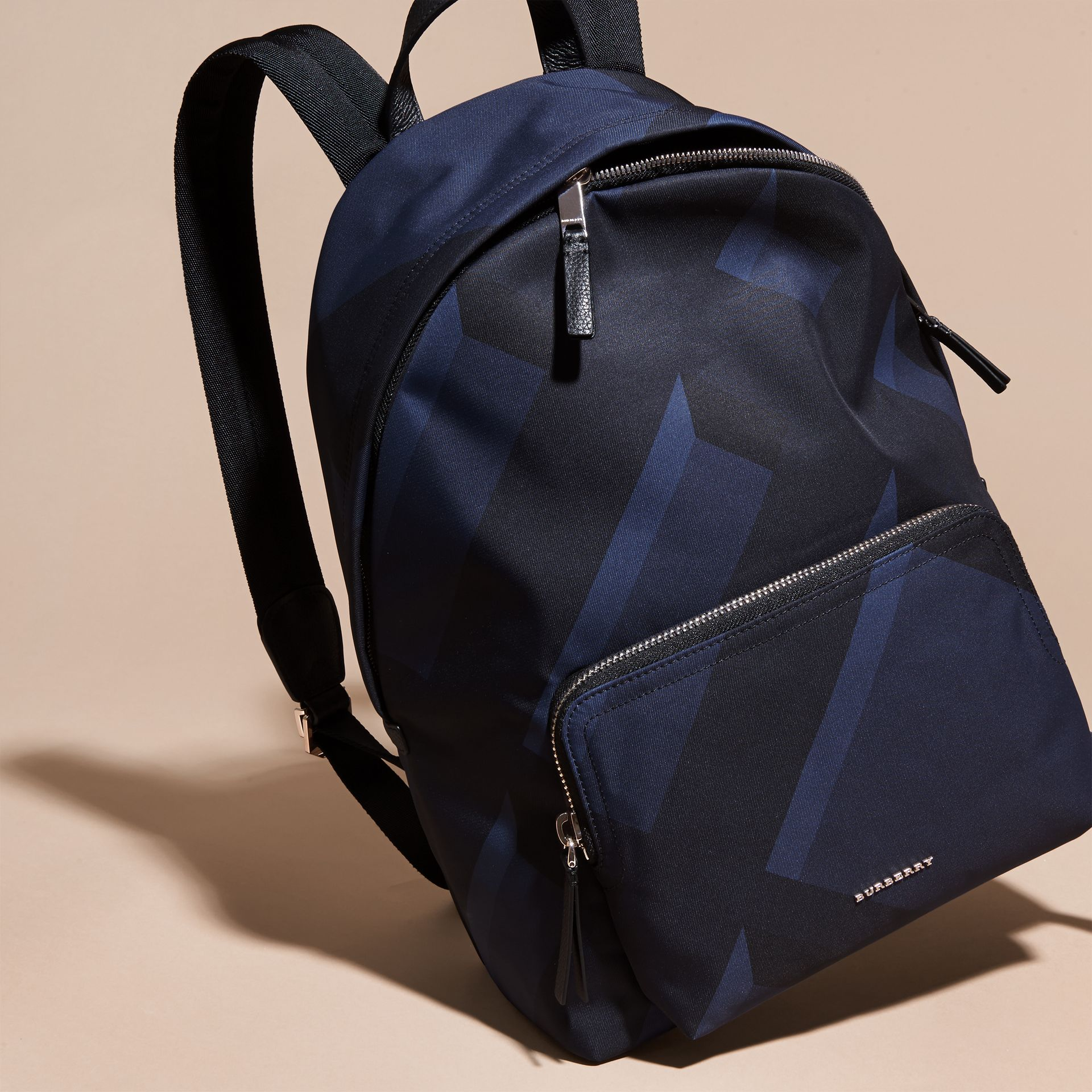 Navy check Leather Trim Check Print Backpack - gallery image 7