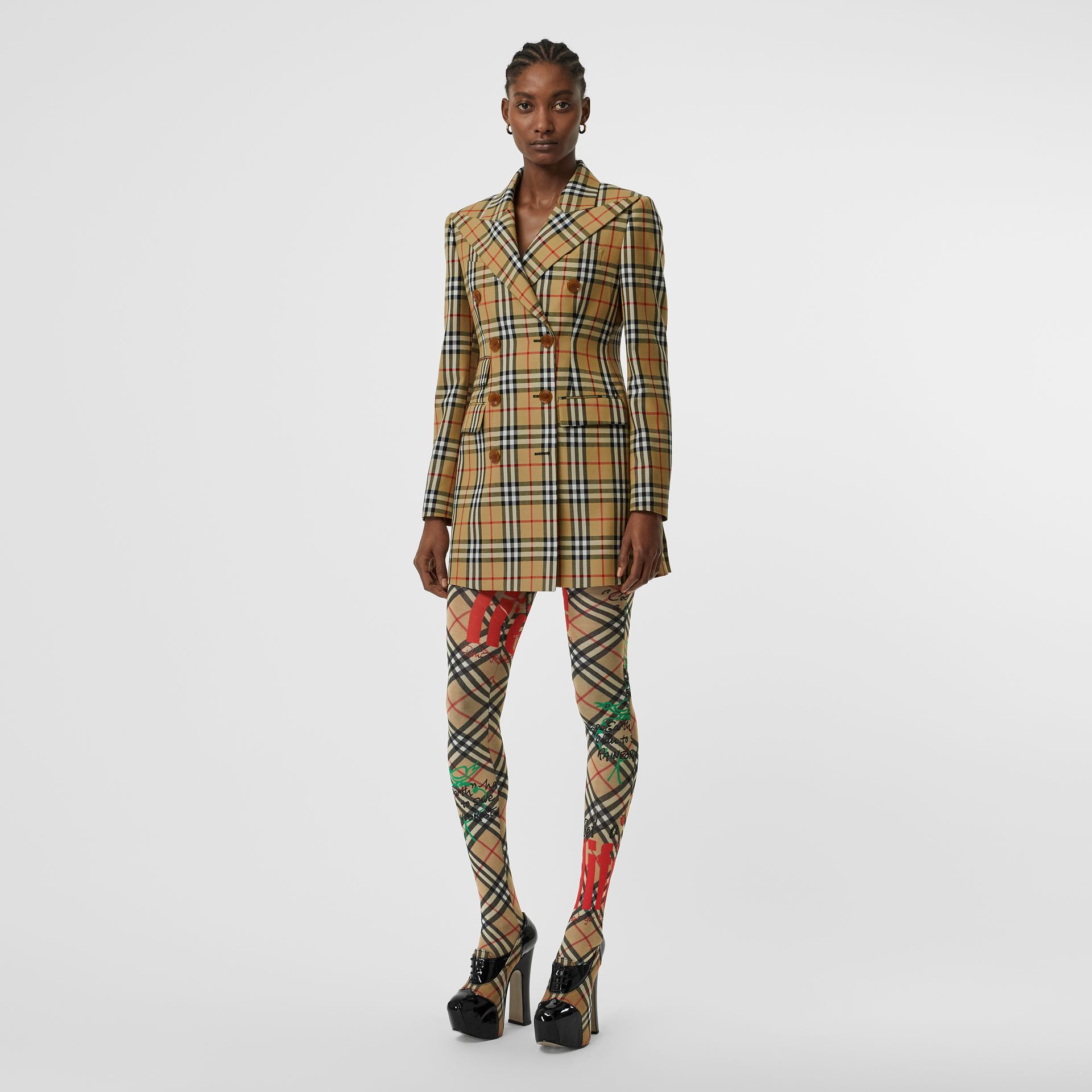 Vintage Check Wool Double-breasted Jacket in Antique Yellow - Women | Burberry Hong Kong - gallery image 0