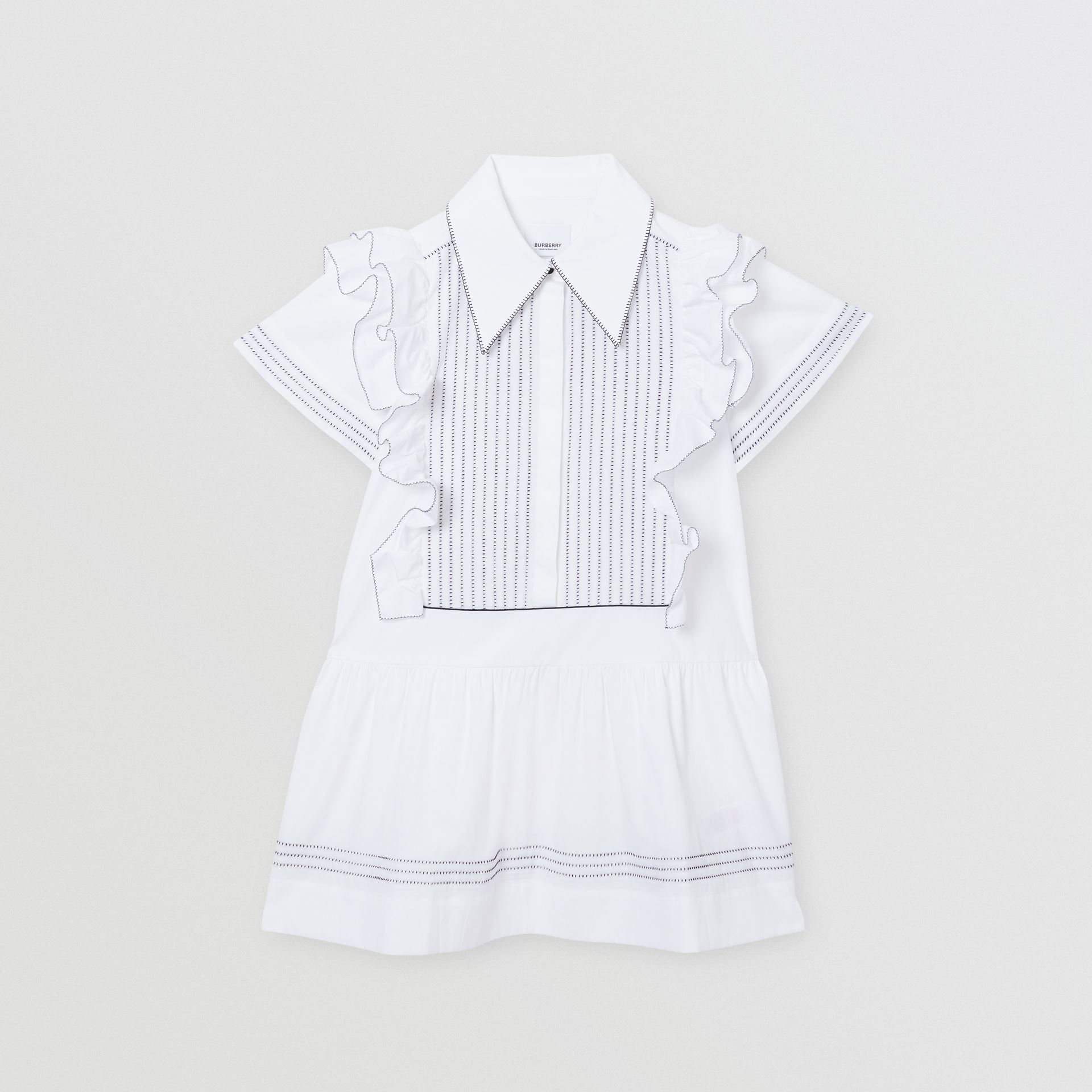 Ruffle Detail Stretch Cotton Poplin Dress in White | Burberry - gallery image 0