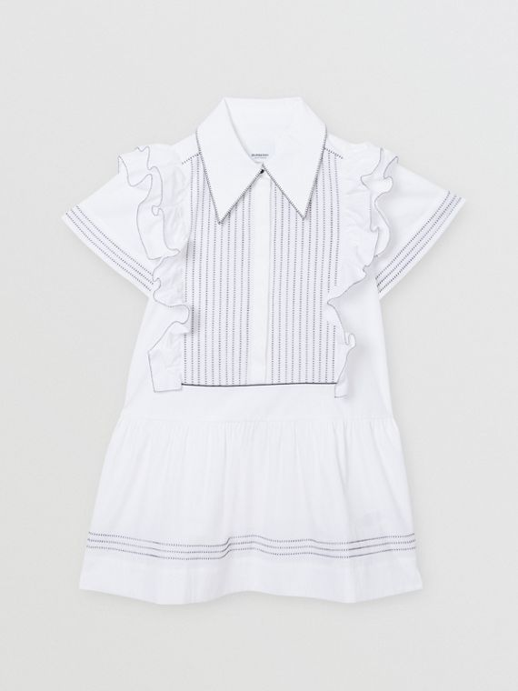 Ruffle Detail Stretch Cotton Poplin Dress in White