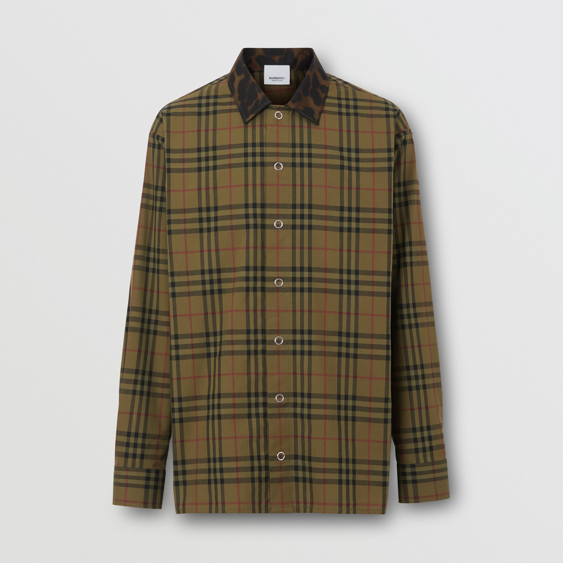 Contrast Collar Vintage Check Cotton Shirt in Army Green | Burberry - gallery image 3