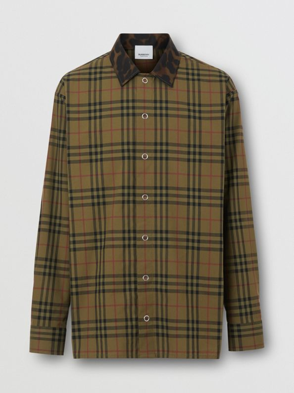 Contrast Collar Vintage Check Cotton Shirt in Army Green