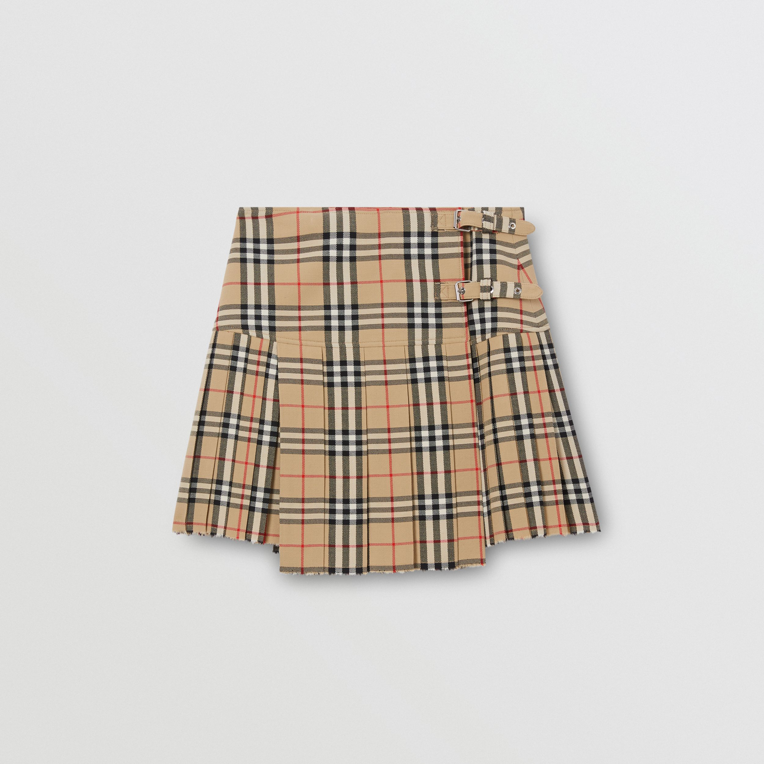 Vintage Check Wool Kilt in Archive Beige - Women | Burberry - 4