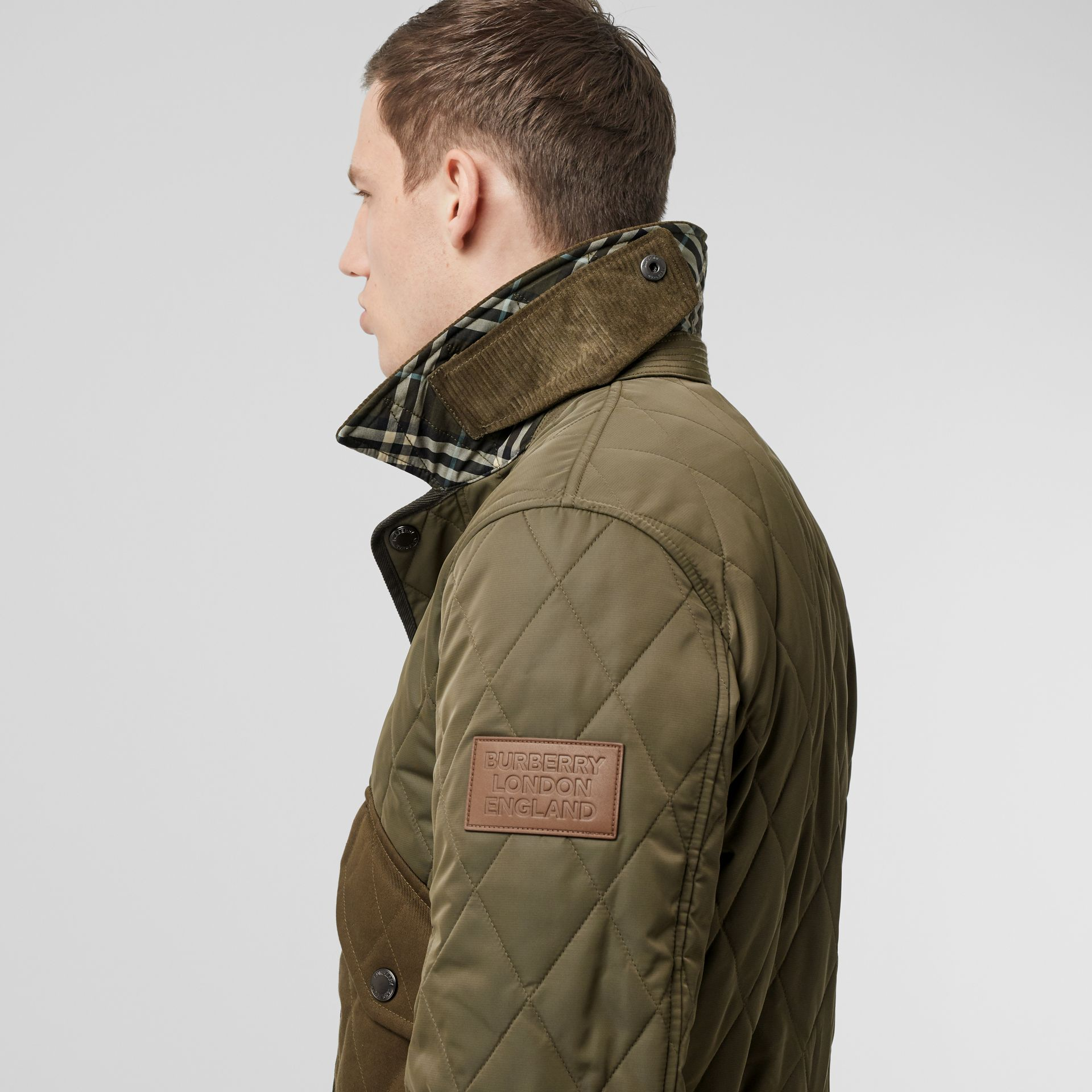 Diamond Quilted Thermoregulated Jacket in Dark Olive - Men | Burberry - gallery image 4