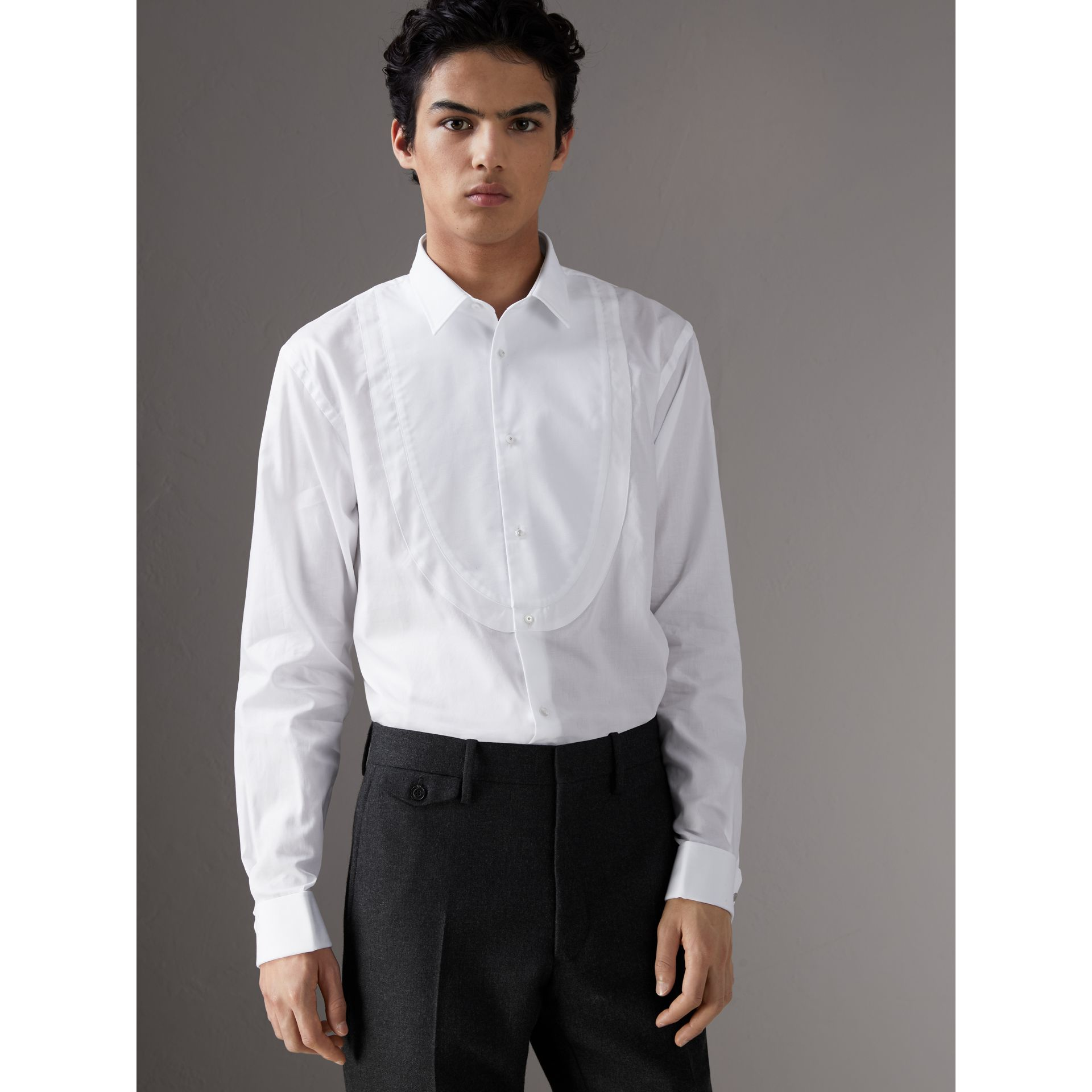 Modern Fit Panelled Bib Cotton Evening Shirt in White - Men | Burberry United Kingdom - gallery image 0