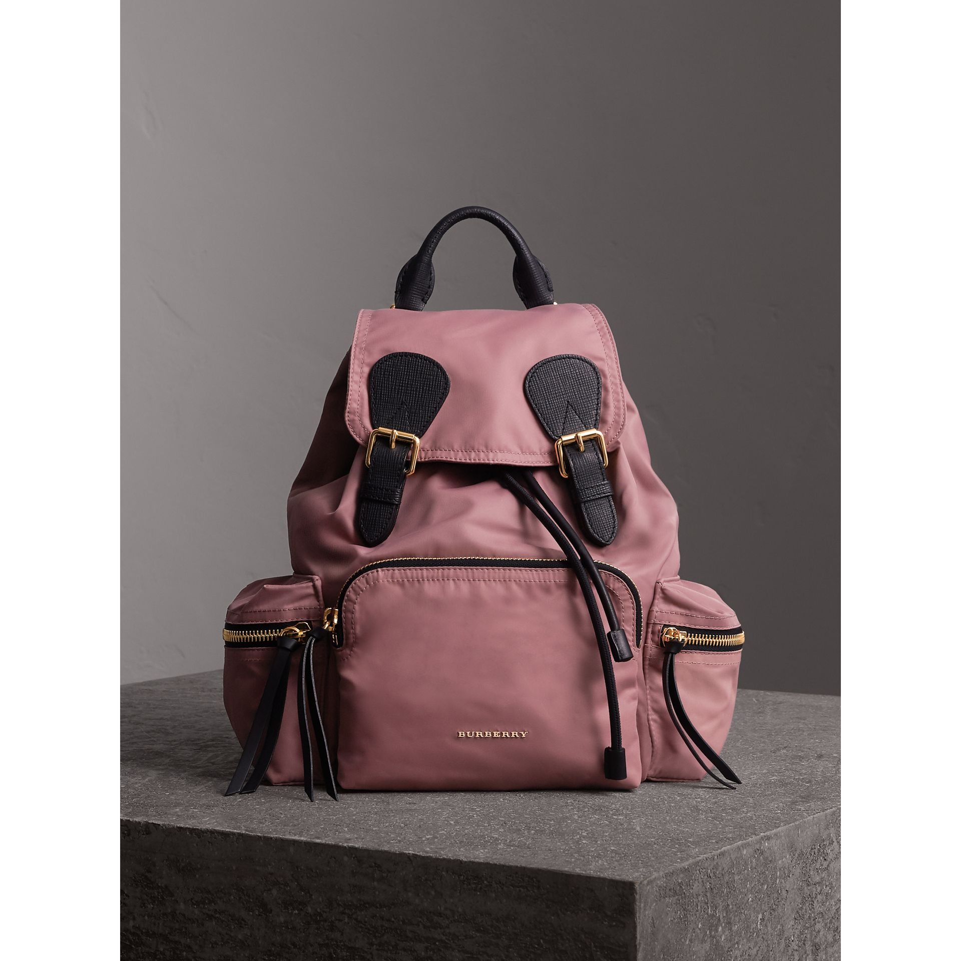 The Medium Rucksack in Technical Nylon and Leather in Mauve Pink - Women | Burberry - gallery image 7