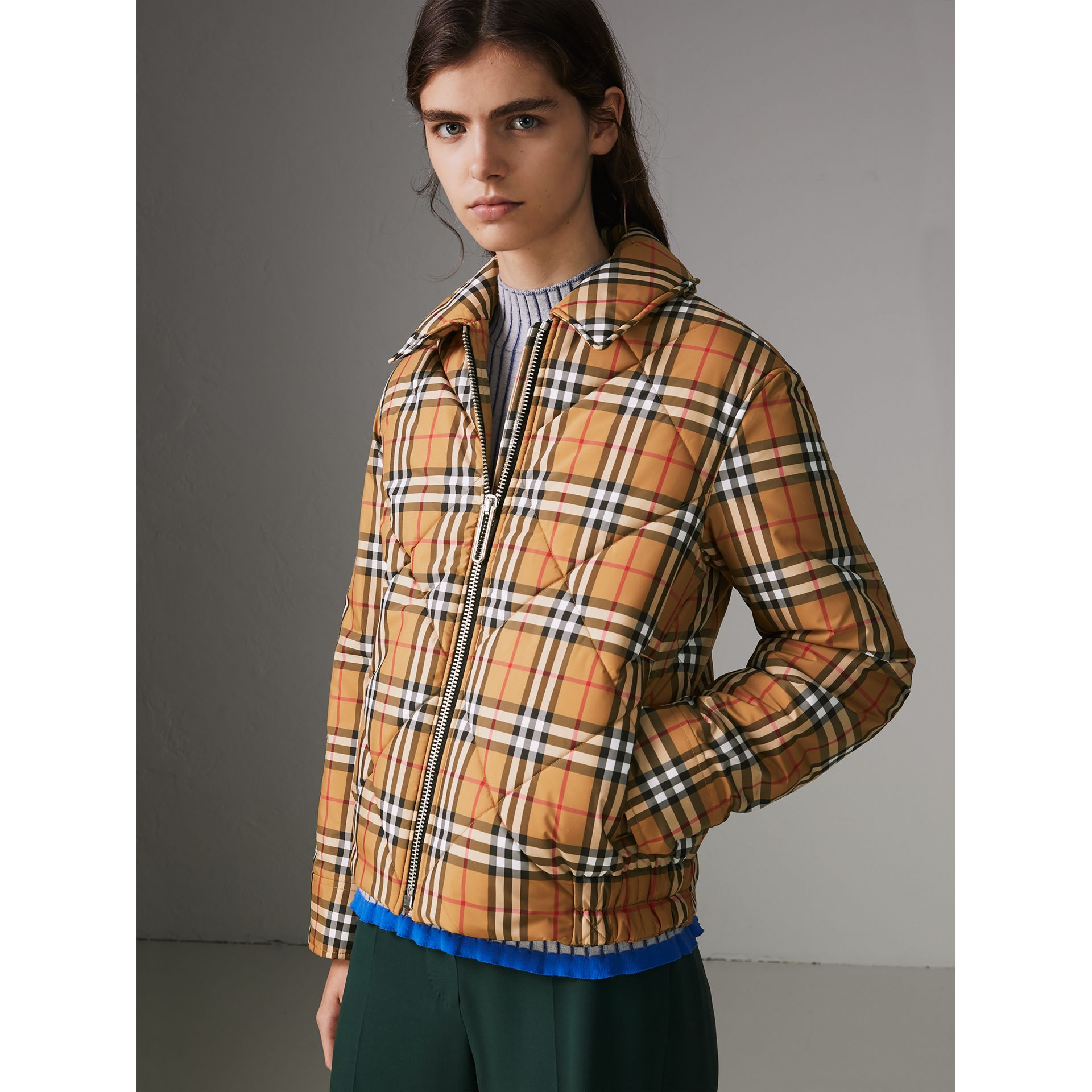 Vintage Check Diamond Quilted Jacket in Antique Yellow - Women | Burberry - gallery image 4