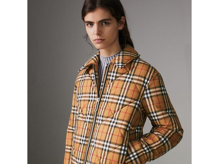 Vintage Check Diamond Quilted Jacket in Antique Yellow - Women | Burberry - cell image 4