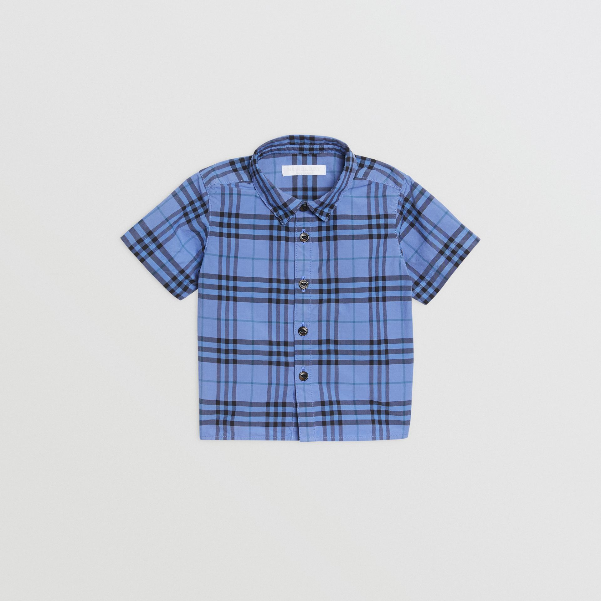 Short-sleeve Check Cotton Shirt in Dusty Blue - Children | Burberry United States - gallery image 0