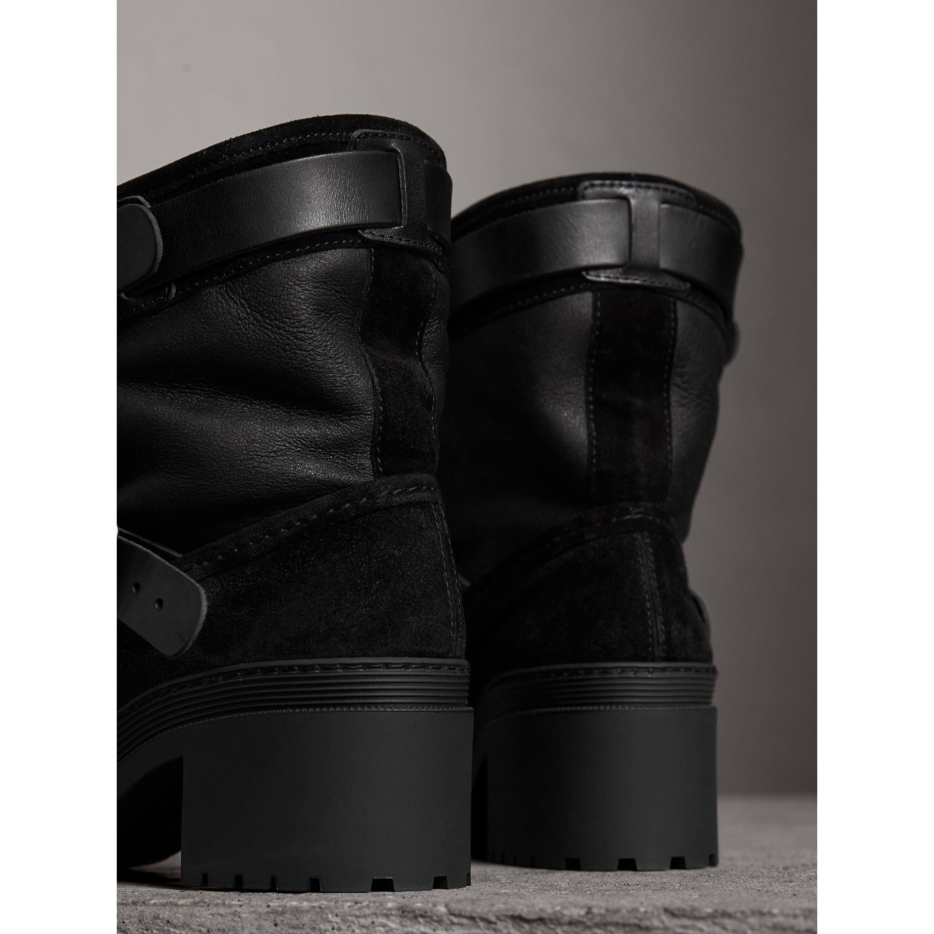 Buckle Detail Suede and Shearling Boots in Black - Women | Burberry - gallery image 3