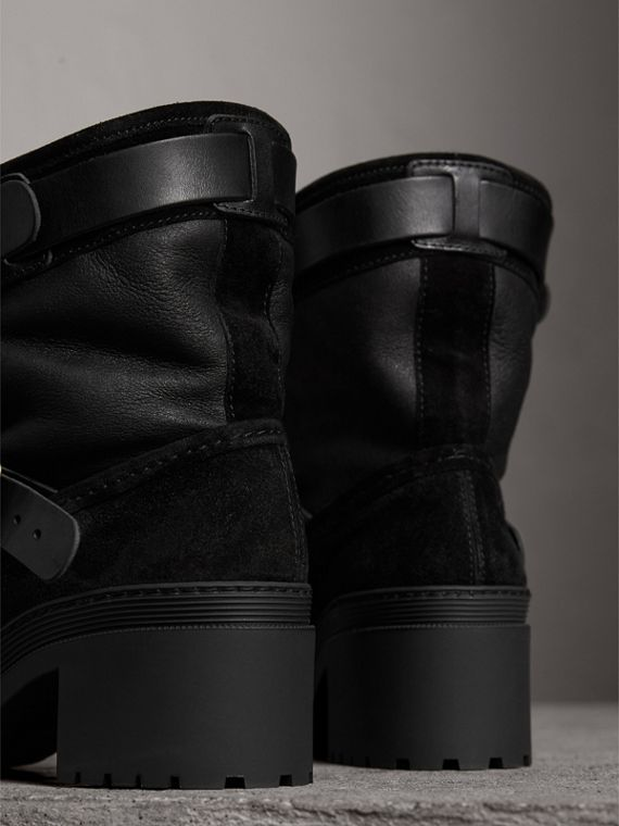 Buckle Detail Suede and Shearling Boots in Black - Women | Burberry - cell image 3