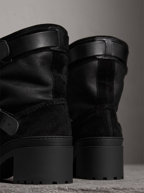Buckle Detail Suede and Shearling Boots in Black | Burberry United States - cell image 3