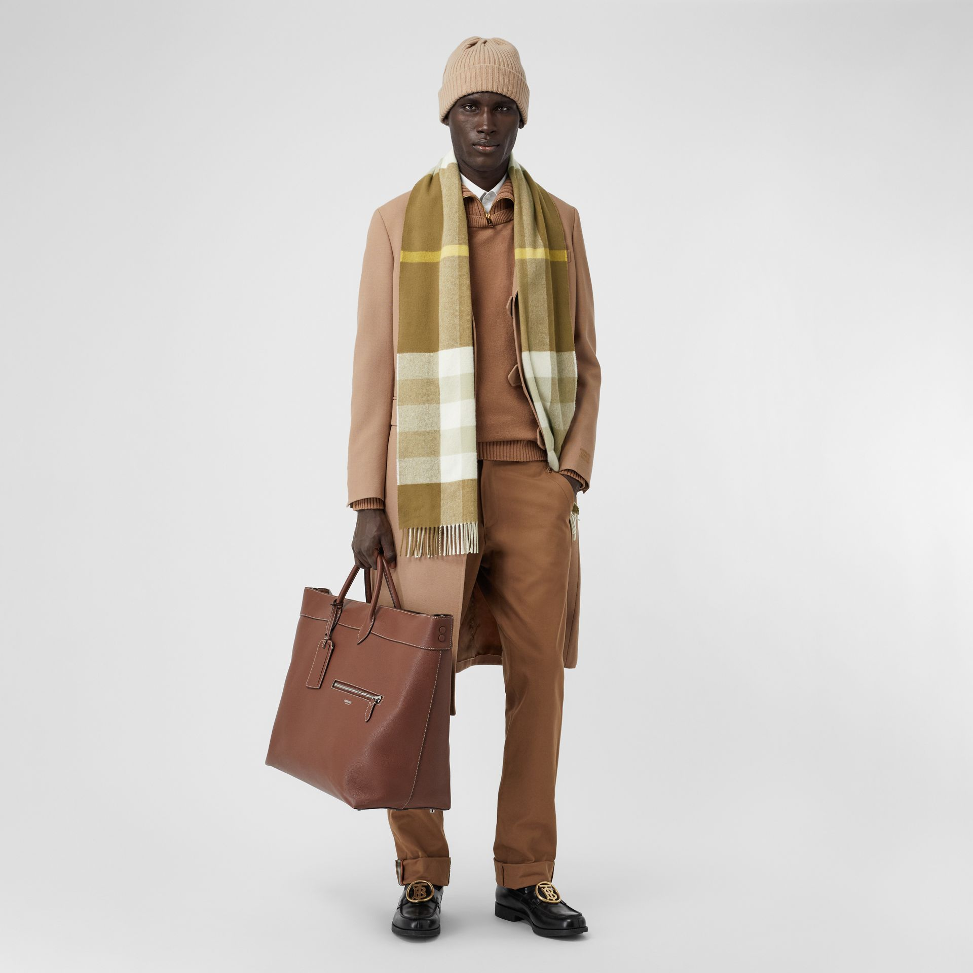 Check Cashmere Scarf in Deep Olive | Burberry United Kingdom - gallery image 7