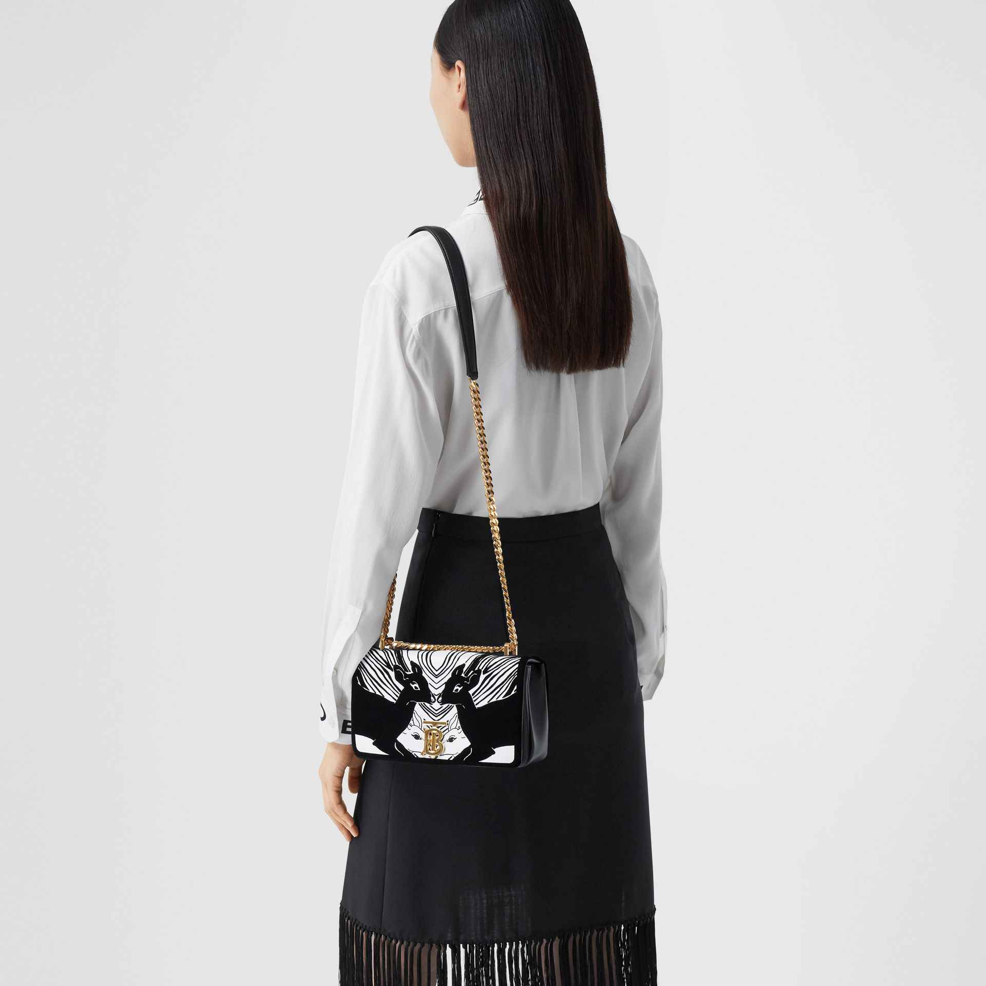 Small Deer Flock Leather Lola Bag in Black/white - Women | Burberry - gallery image 2