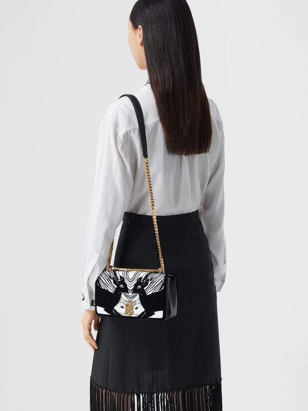 Small Deer Flock Leather Lola Bag in Black/white - Women | Burberry - cell image 2