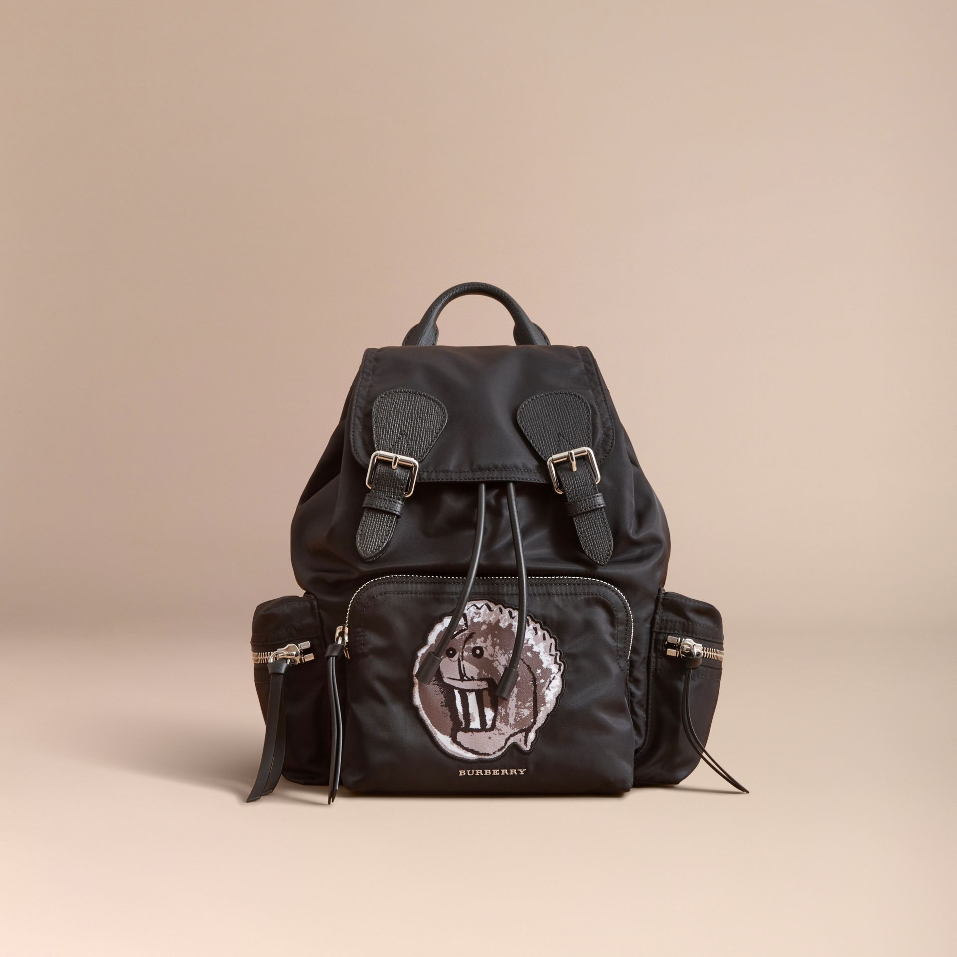 The Medium Rucksack in Technical Nylon with Pallas Heads Appliqué - gallery image 7