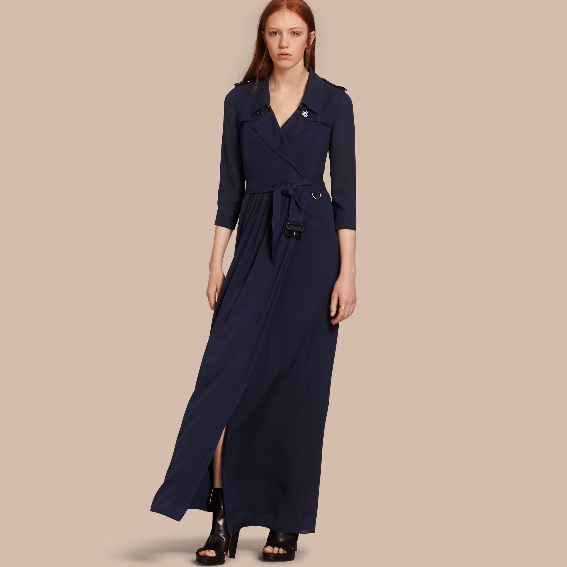Silk Trench Dress in Navy - gallery image 1