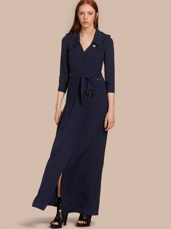 Silk Trench Dress in Navy