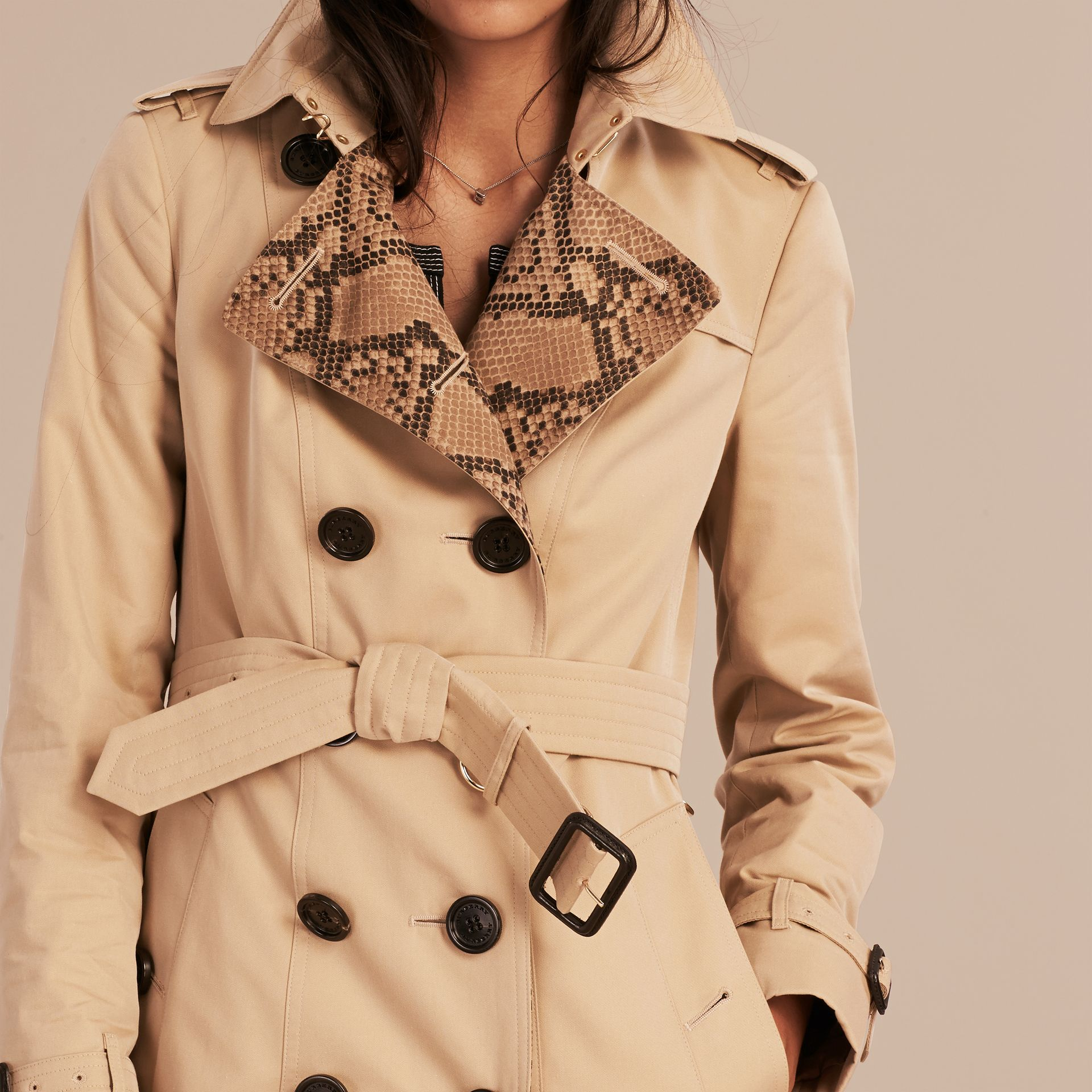 Honey Python Print Detail Cotton Gabardine Trench Coat - gallery image 6