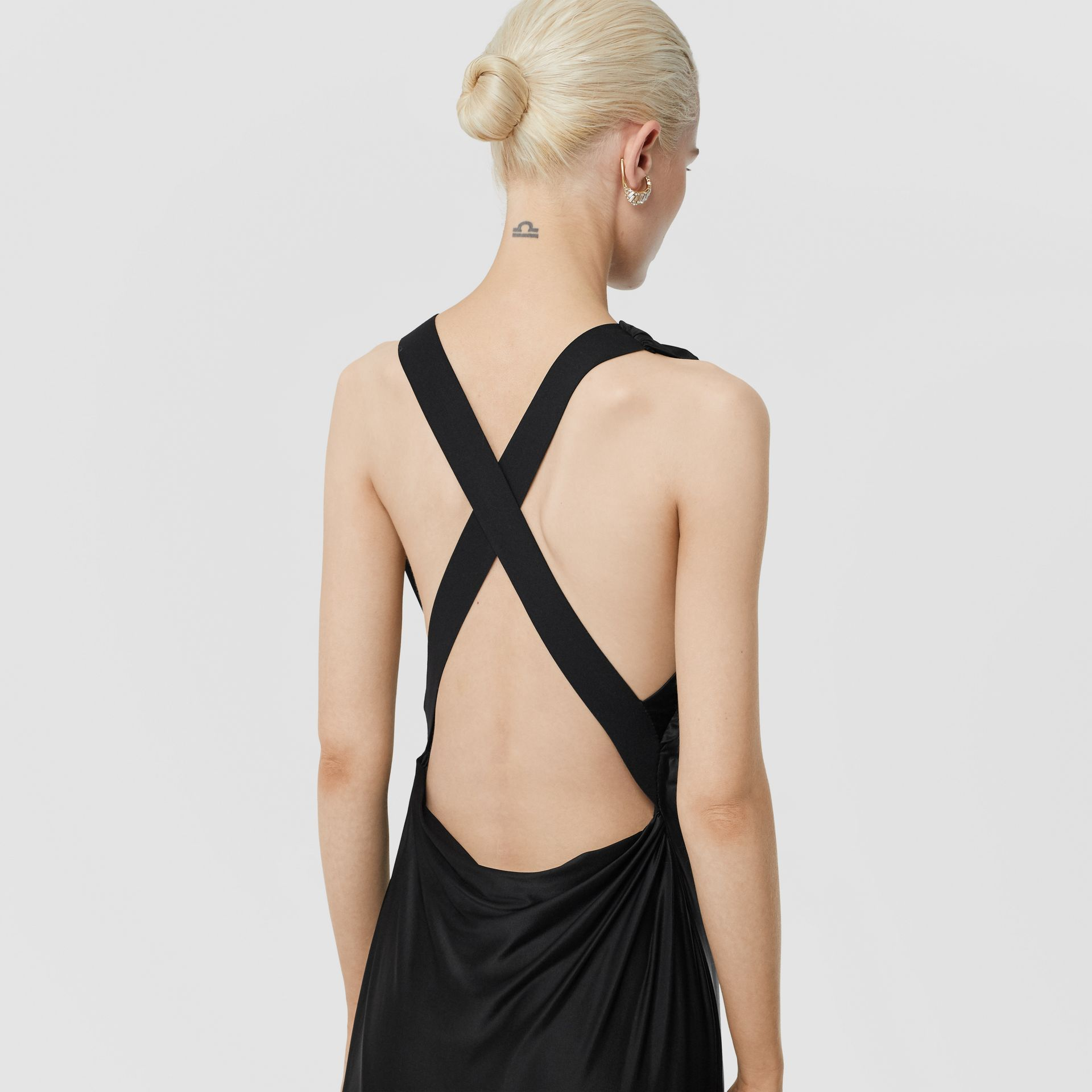 Tie Detail Stretch Jersey Gown in Black - Women | Burberry - gallery image 4