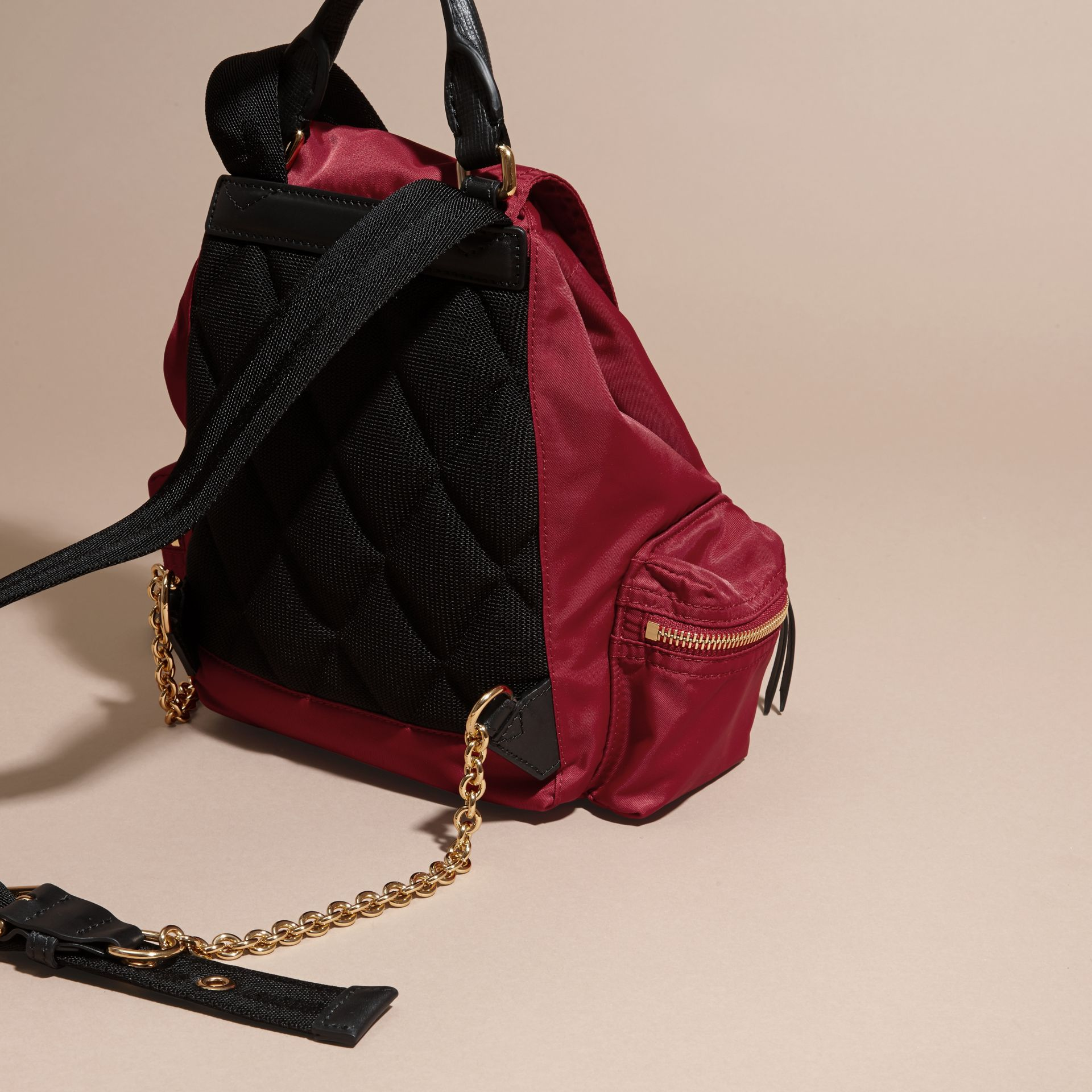 The Small Rucksack in Technical Nylon and Leather Parade Red - gallery image 4
