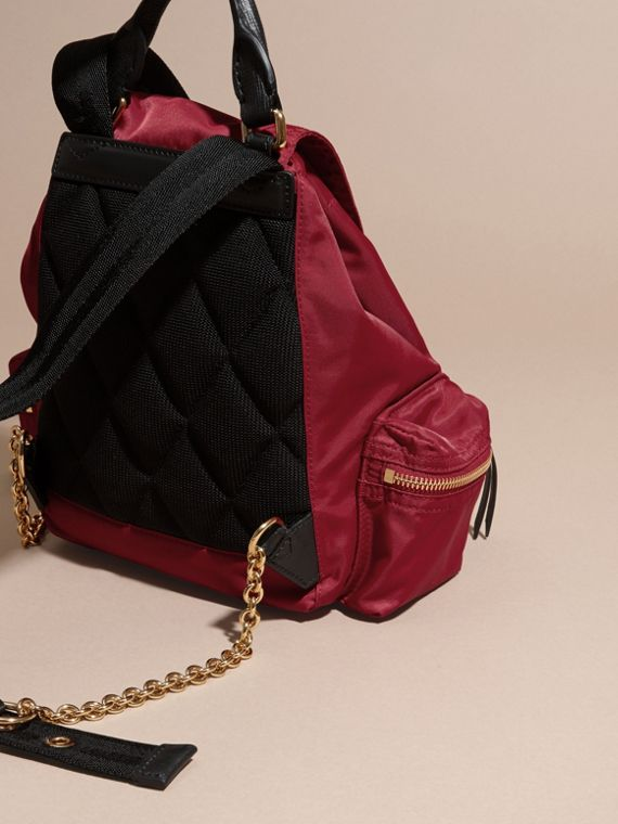 The Small Rucksack in Technical Nylon and Leather in Parade Red - Women | Burberry - cell image 3