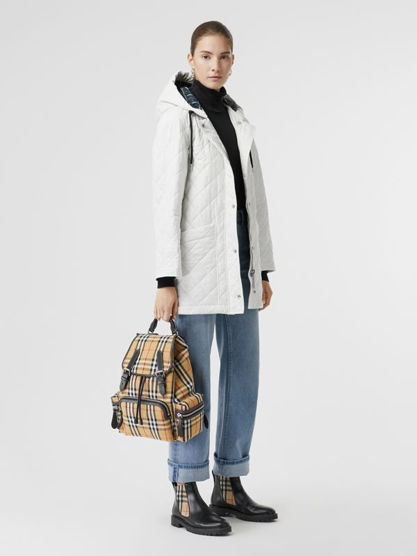 The Medium Rucksack in Vintage Check Cotton Canvas in Antique Yellow - Women | Burberry - cell image 2