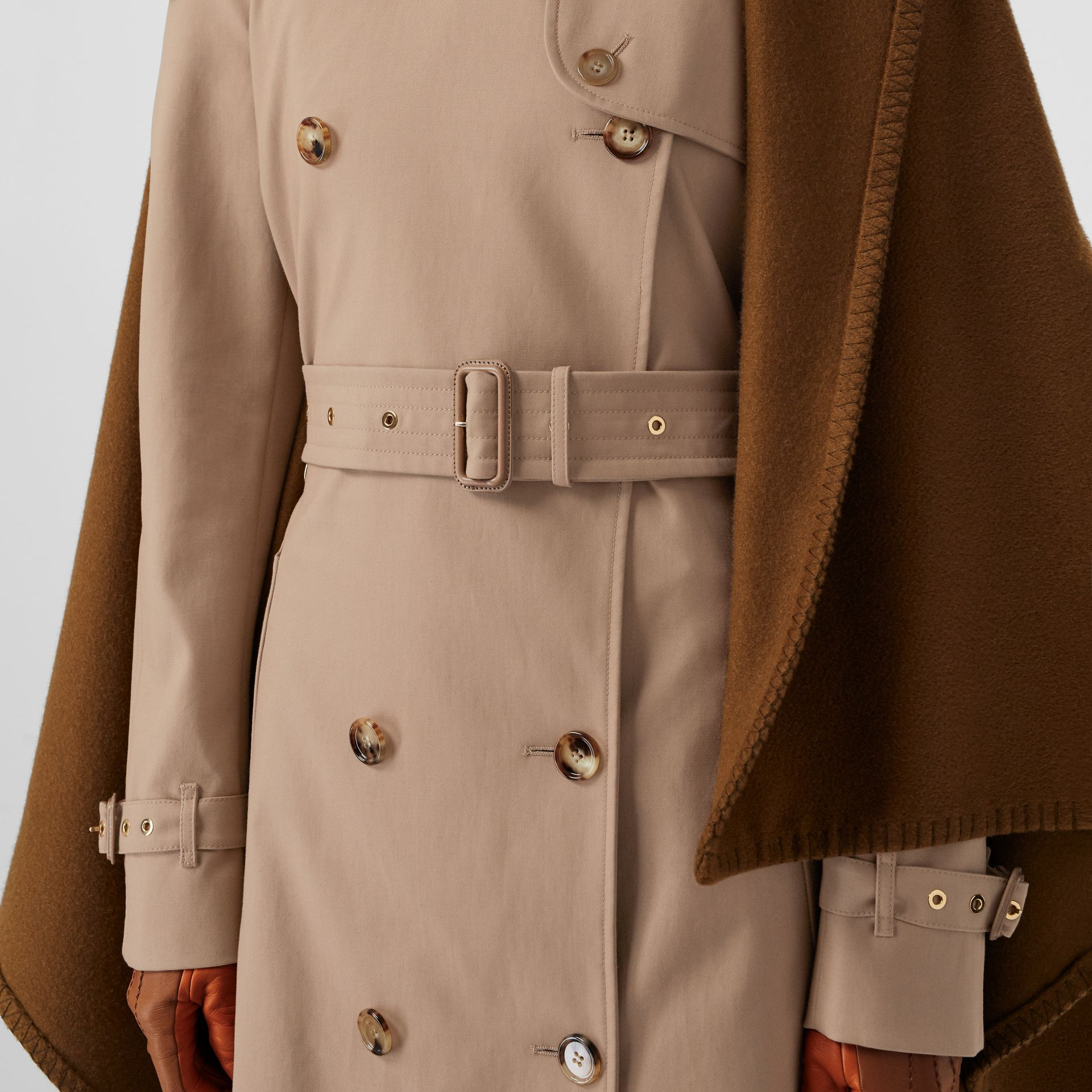 Blanket Detail Cotton Gabardine Trench Coat in Camel - Women | Burberry - gallery image 4