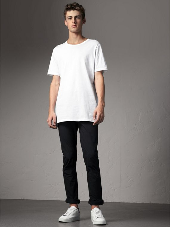 Slim Fit Cotton Poplin Chinos in Black
