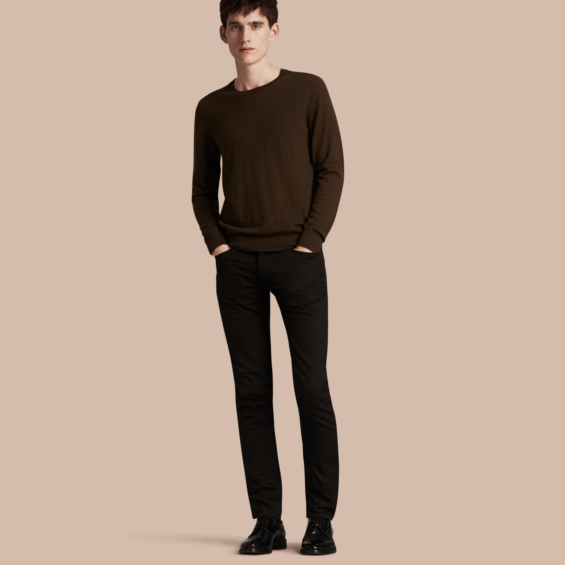 Slim Fit Unwashed Stretch Denim Jeans - Men | Burberry - gallery image 1