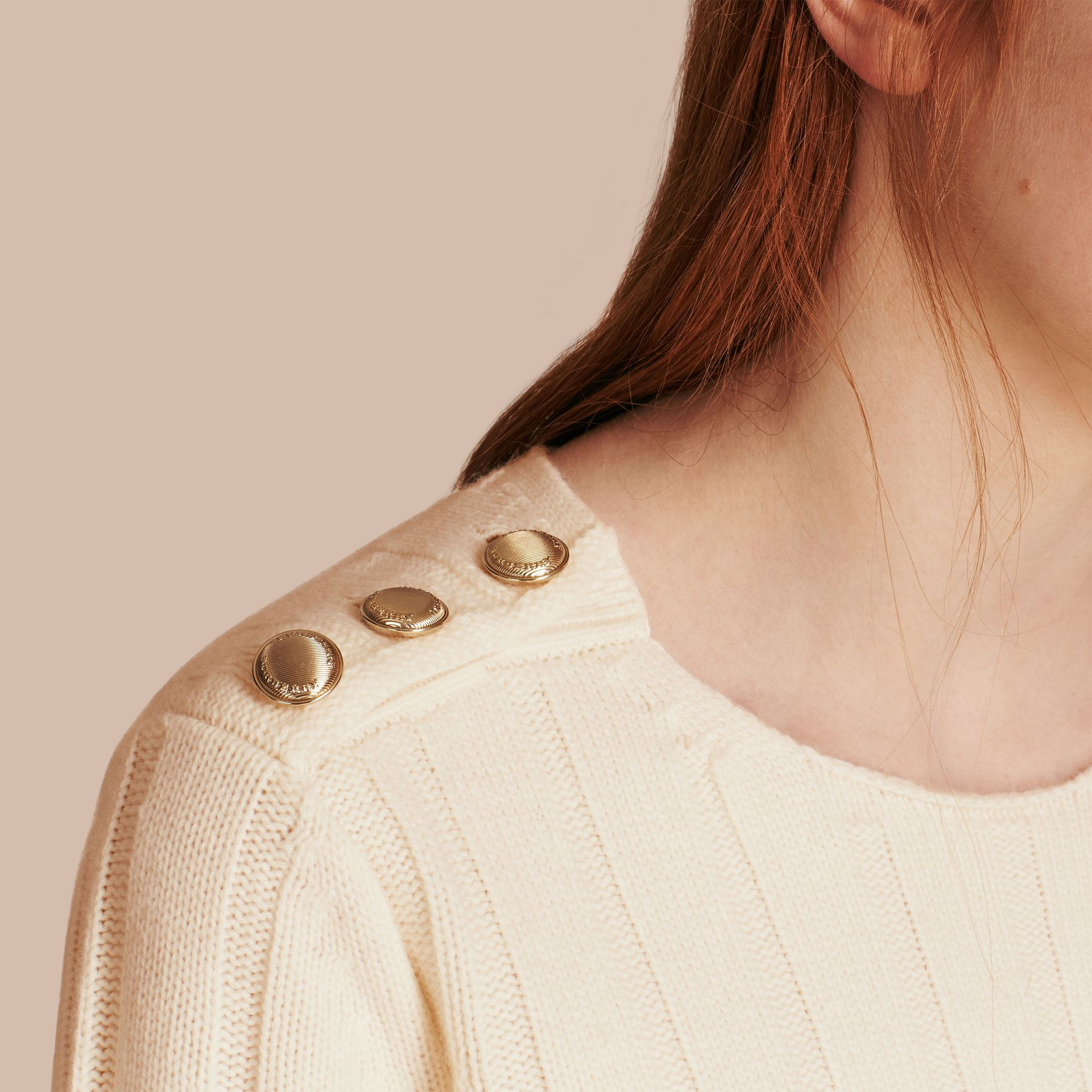 Natural white Ribbed Wool Cashmere Sweater - gallery image 5