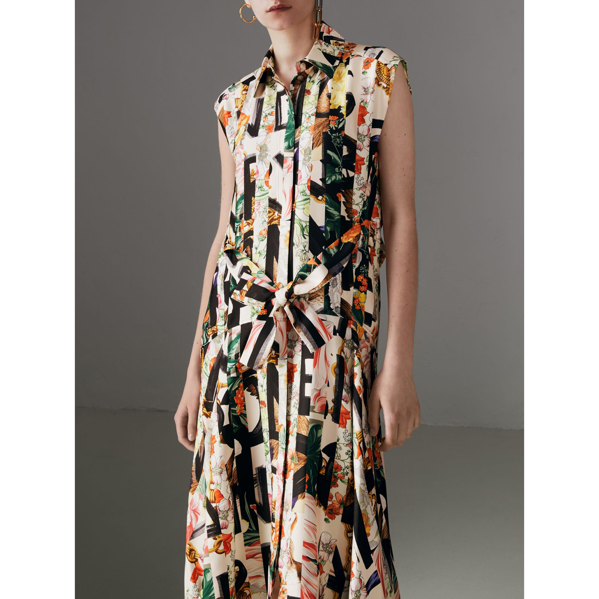 Graffiti Archive Scarf Print Silk Shirt Dress in Multicolour - Women | Burberry - gallery image 5